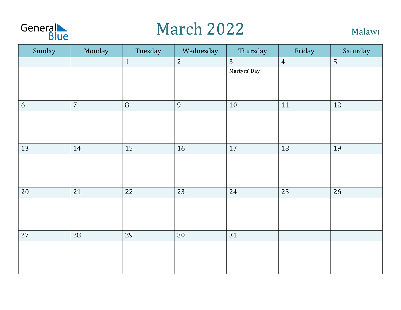 March 2022 Calendar - Malawi Regarding March And April 2022 Calendar Pages