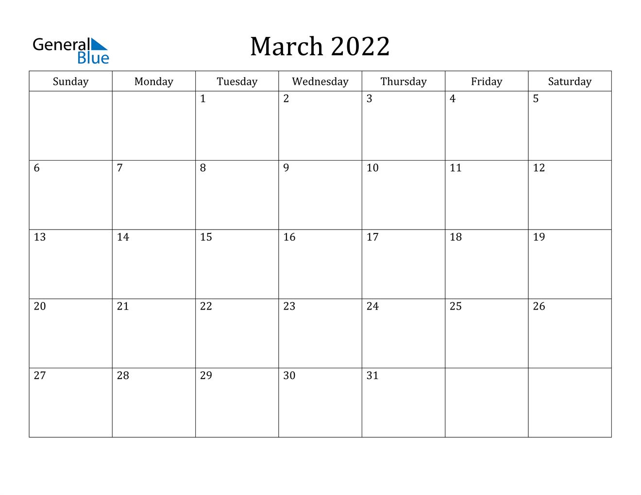 March 2022 Calendar (Pdf Word Excel) Regarding February March And April 2022 Calendar