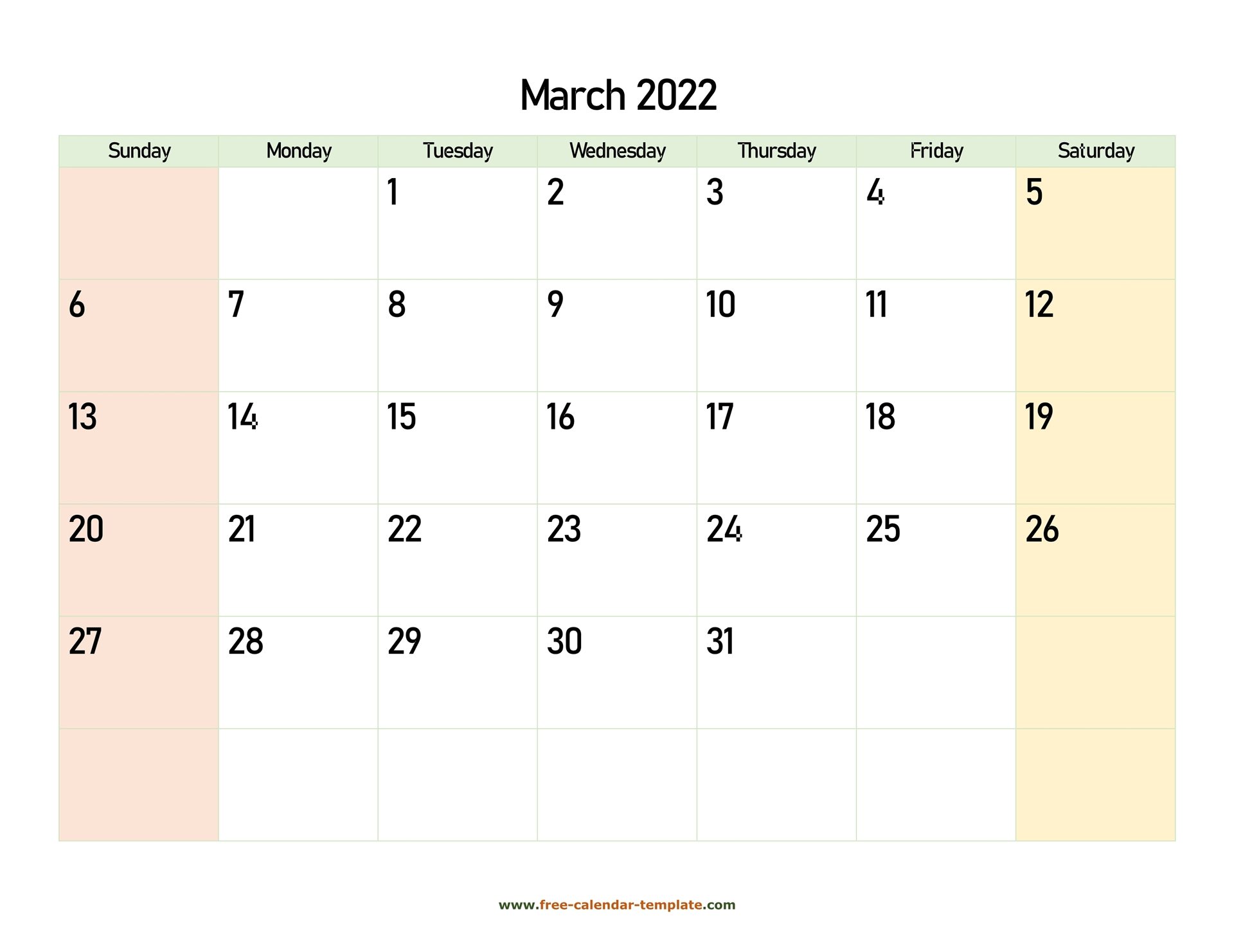 March 2022 Calendar Printable With Coloring On Weekend Throughout Caladar For The Mont Of March 2022