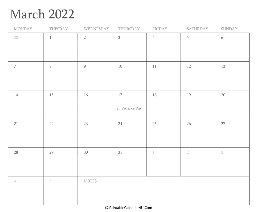 March 2022 Calendar Printable With Holidays Intended For Printable Calendars 2022 March