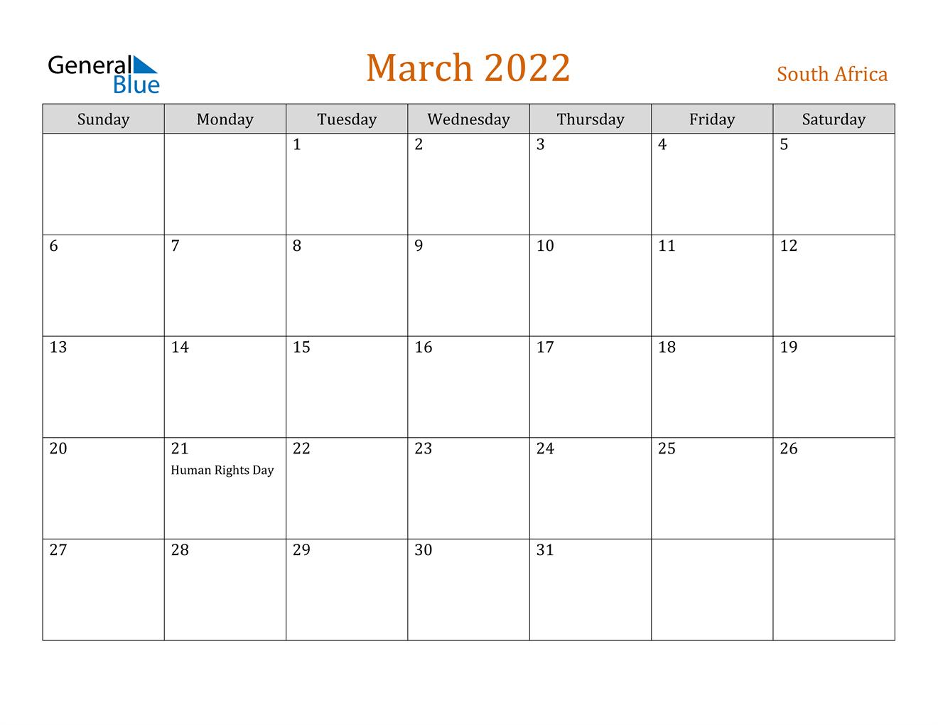 March 2022 Calendar - South Africa Inside Calendar Of March 2022