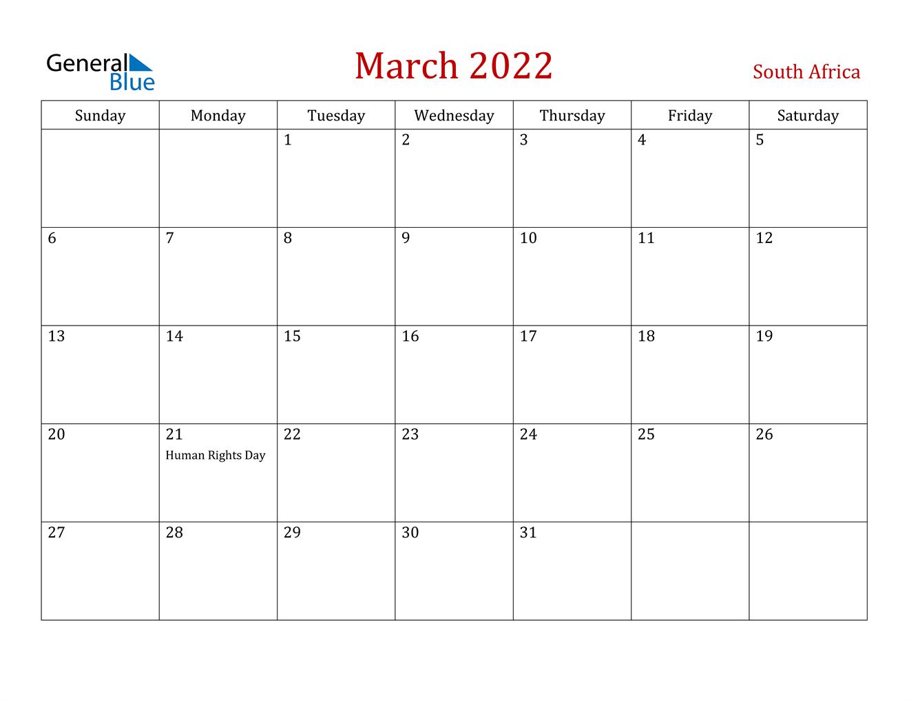 March 2022 Calendar – South Africa Inside February March 2022 Calendar