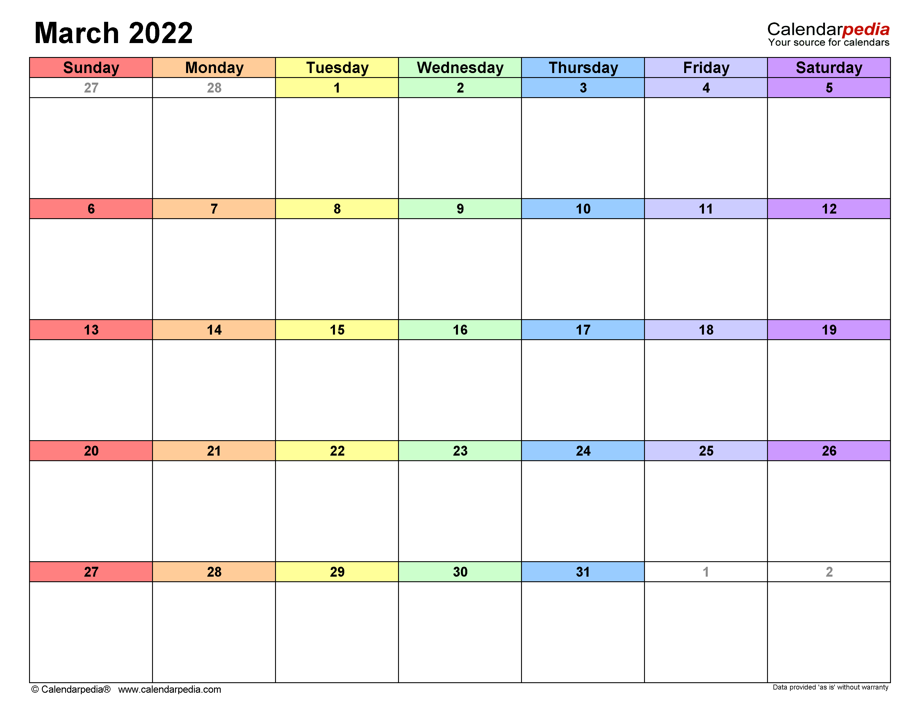 March 2022 Calendar | Templates For Word, Excel And Pdf Throughout March 2022 Calendar Free Printable