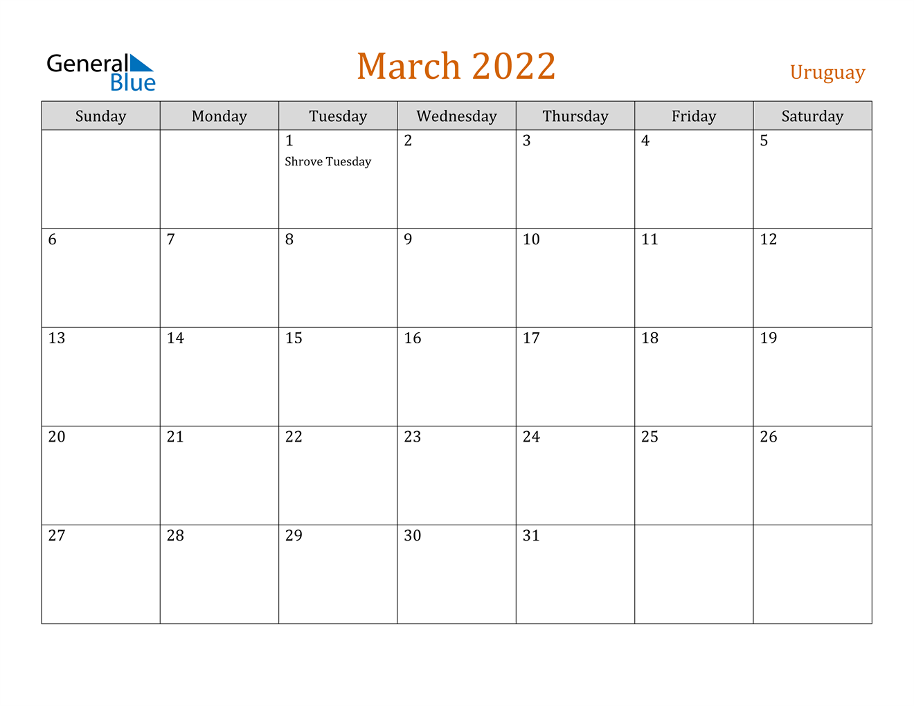 March 2022 Calendar - Uruguay Throughout March 2022 Calendar Free Printable