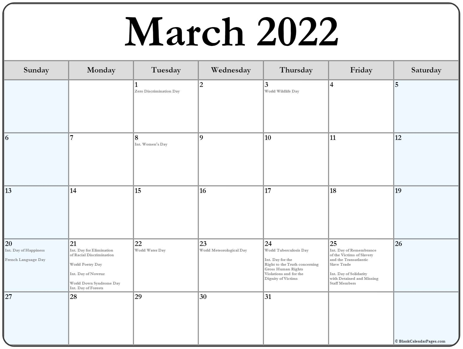 March 2022 Calendar With Holidays Intended For March And April 2022 Calendar Pages