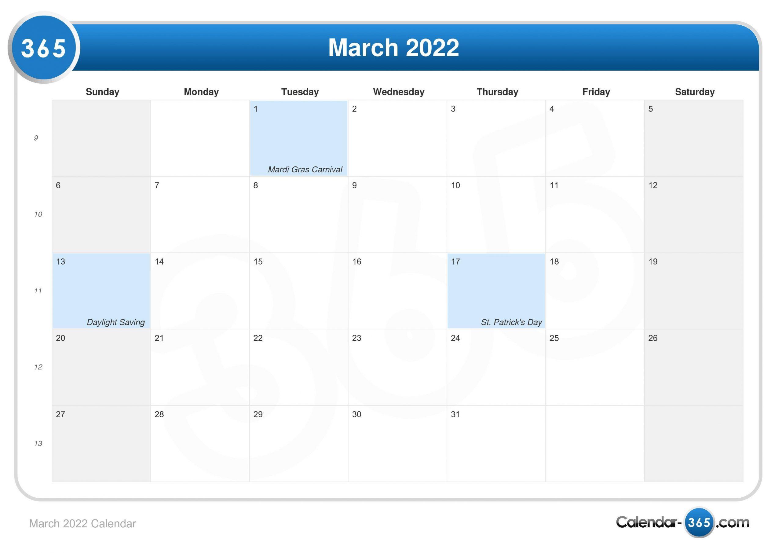 March 2022 Calendar With Regard To Printable Calendars 2022 March