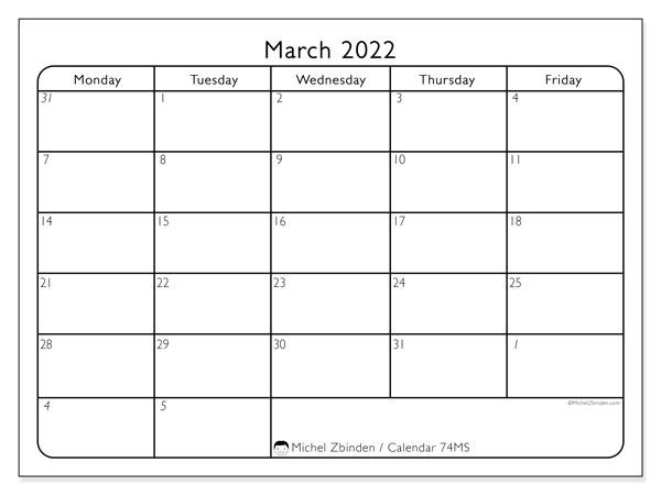 "March 2022 Calendars ""Monday – Sunday"" – Michel Zbinden En Within 2022 March 2 Page Printable Calendar"