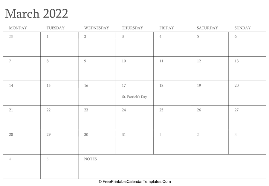 March 2022 Editable Calendar With Holidays And Notes Within March & April 2022 Calendar Free Printable