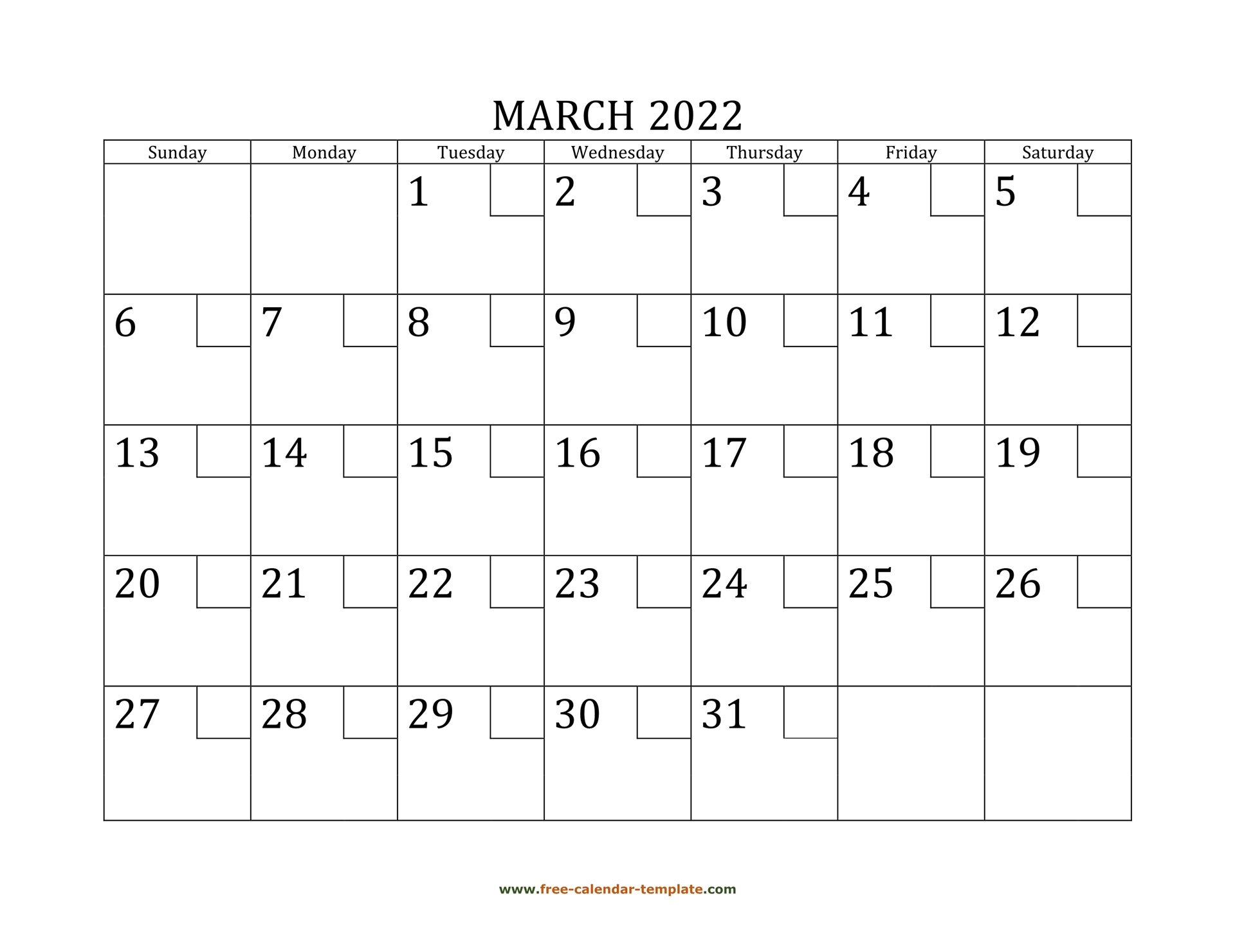 March 2022 Free Calendar Tempplate | Free Calendar Throughout Caladar For The Mont Of March 2022