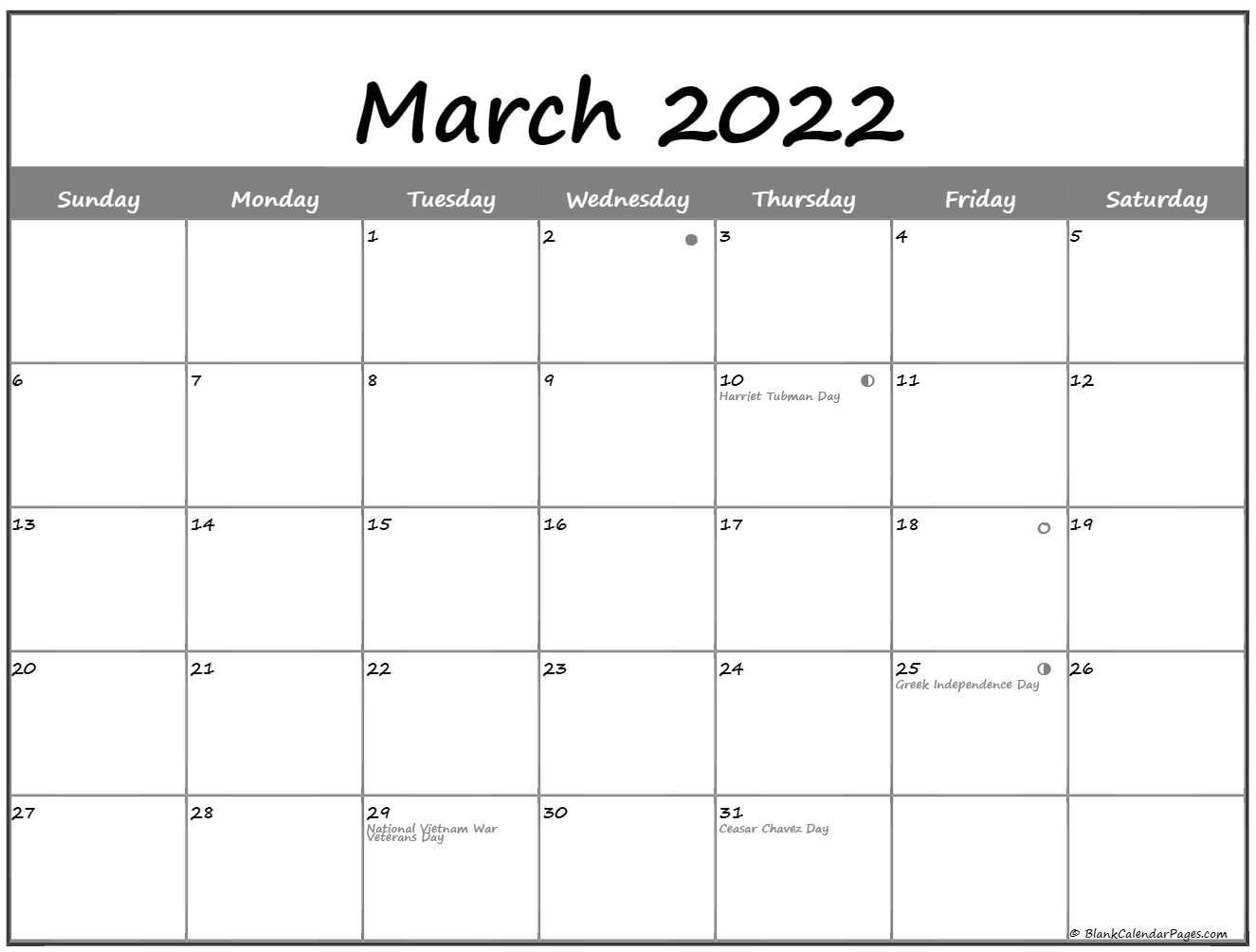 March 2022 Lunar Calendar | Moon Phase Calendar Intended For February March 2022 Calendar