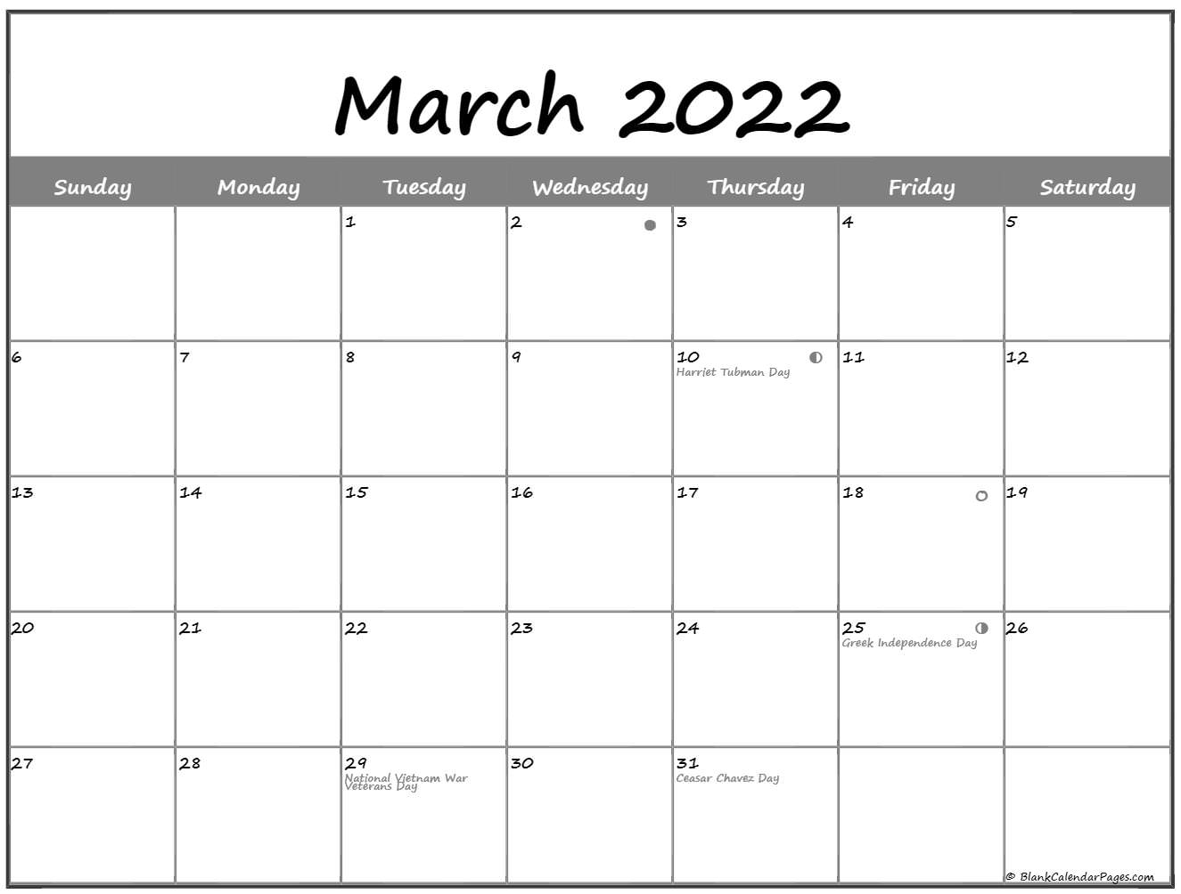 March 2022 Lunar Calendar | Moon Phase Calendar Within March And April 2022 Calendar Pages
