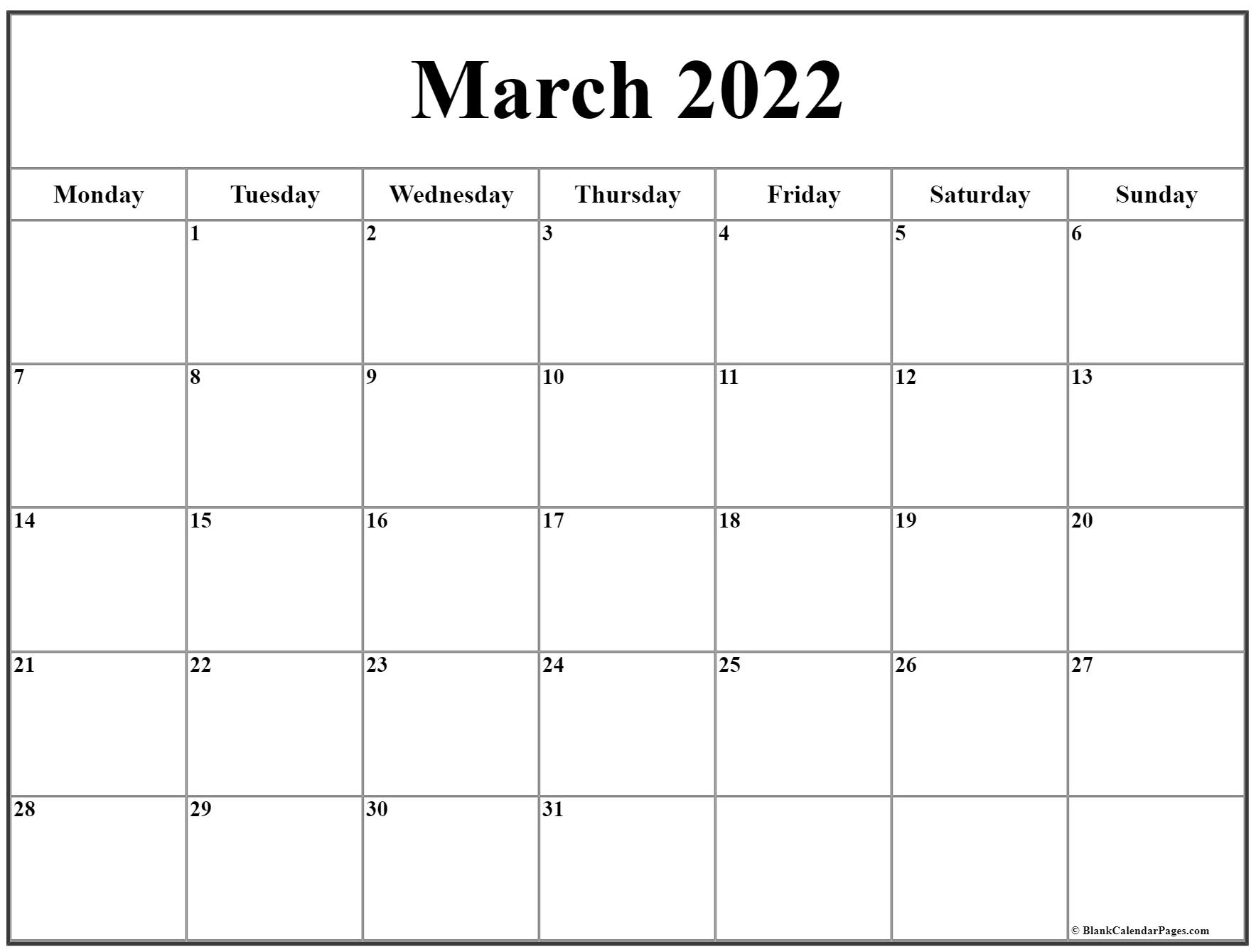 March 2022 Monday Calendar | Monday To Sunday in March And April 2022 Calendar Pages