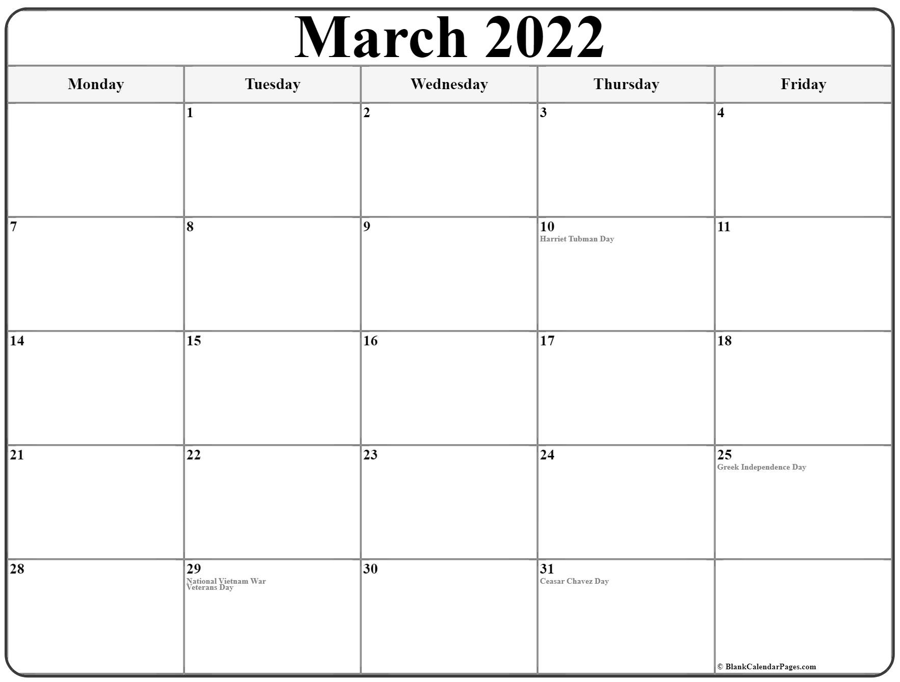 March 2022 Monday Calendar | Monday To Sunday With Printable Calendars 2022 March