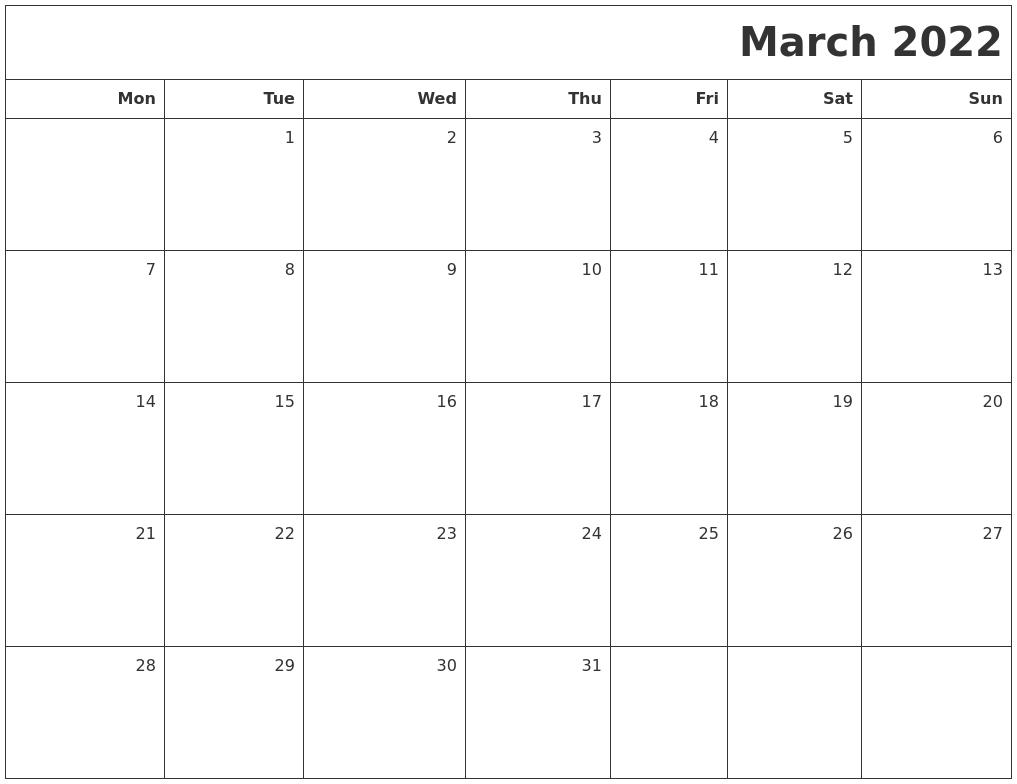 March 2022 Printable Blank Calendar In February March Calendar 2022
