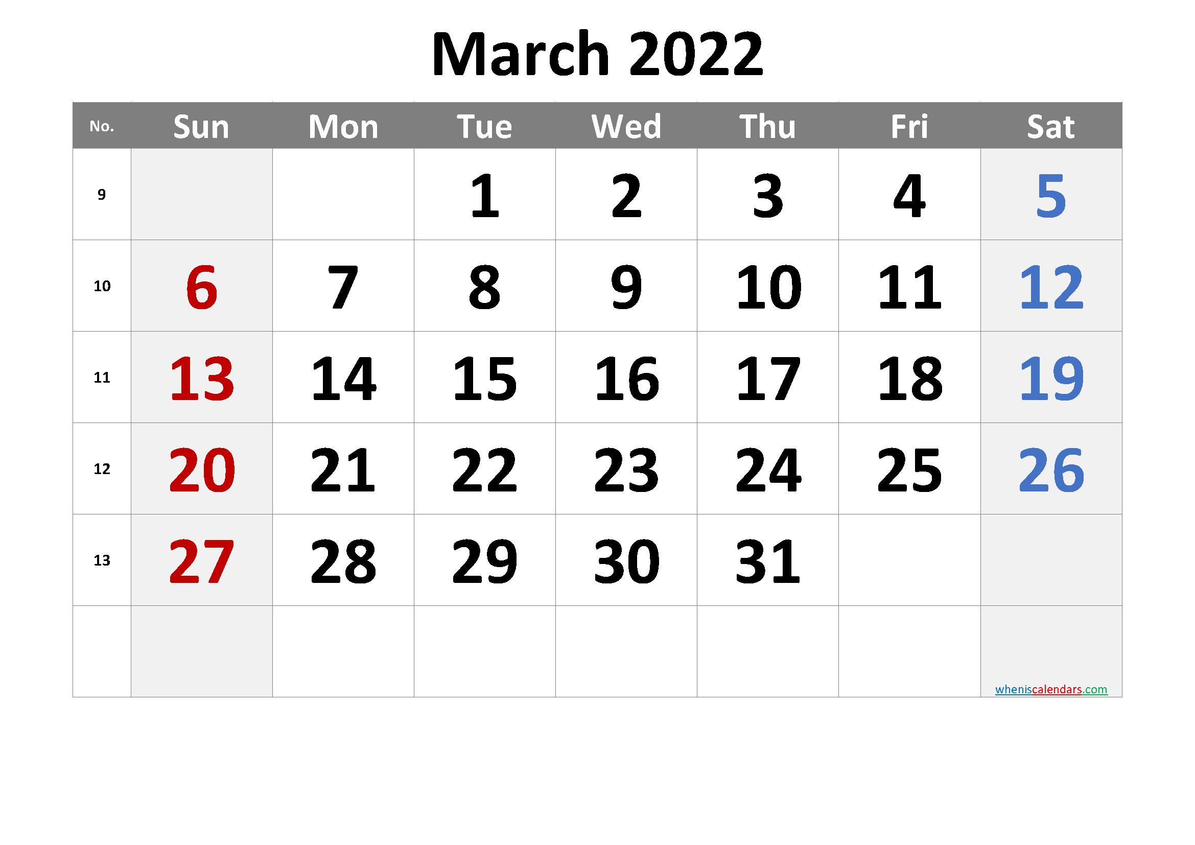 March 2022 Printable Calendar [Free Premium] Inside 2022 March 2 Page Printable Calendar