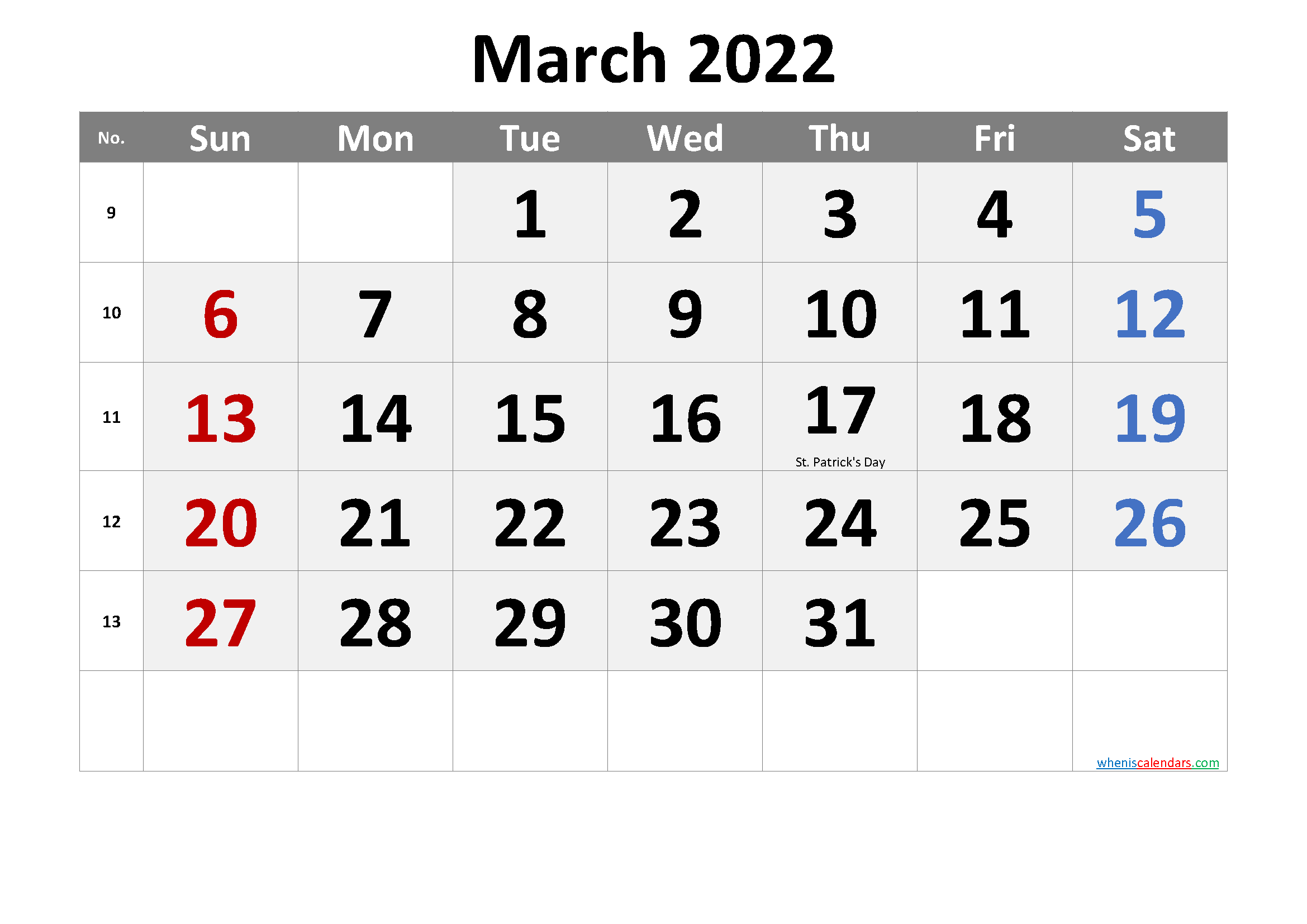 March 2022 Printable Calendar With Holidays – Free In 2022 Calendar March And April