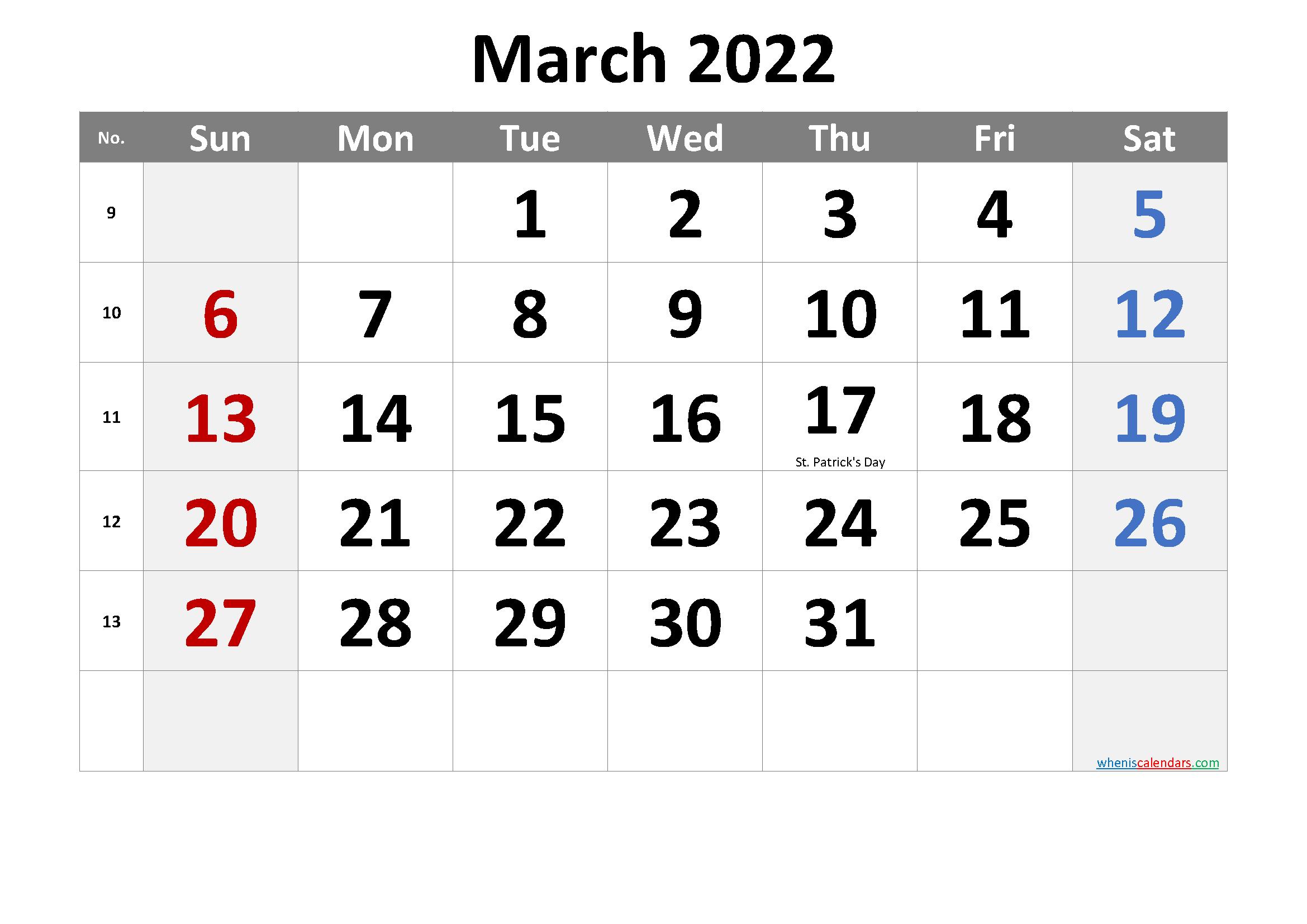 March 2022 Printable Calendar With Holidays Regarding Calendar Of March 2022
