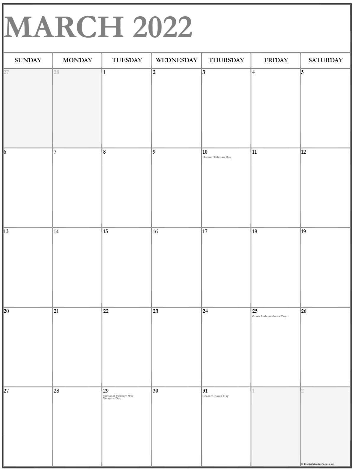 March 2022 Vertical Calendar | Portrait Within February March 2022 Calendar
