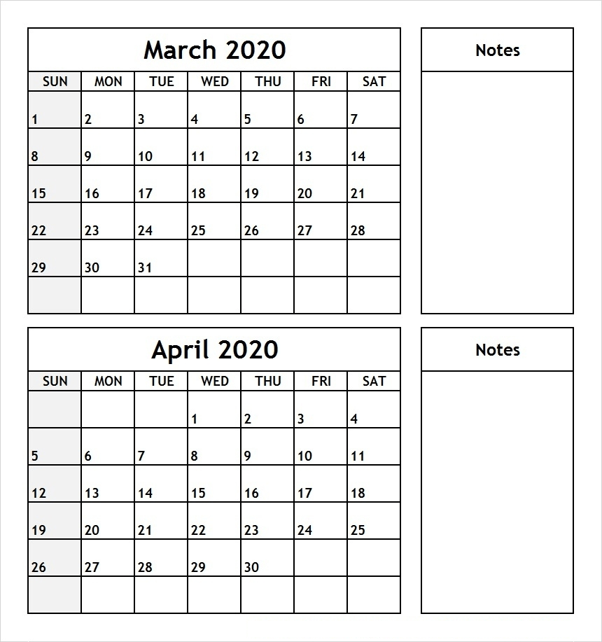 March And April 2020 Calendar (2 Months) Templates For March April Calendar Printable
