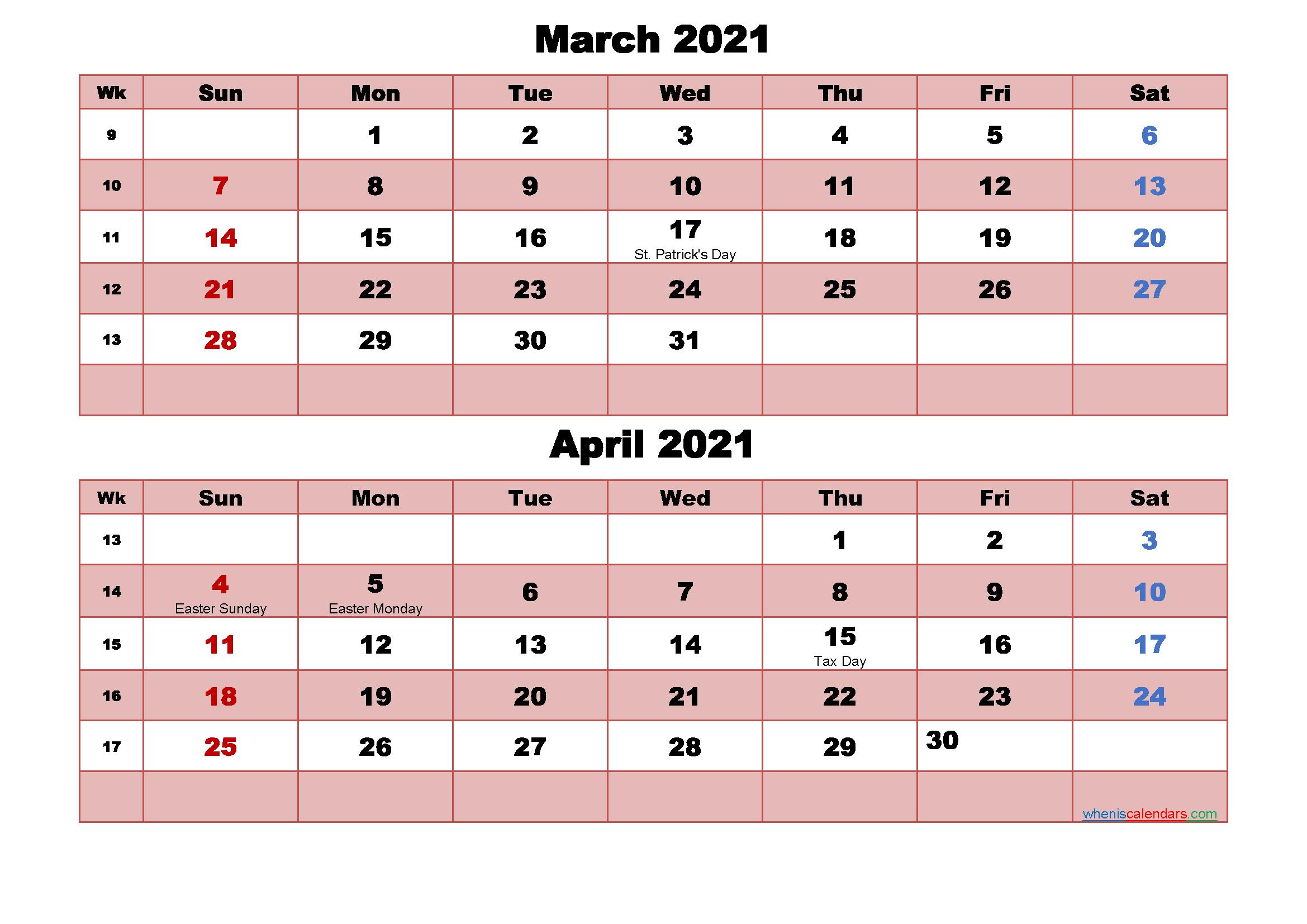 March And April Calendar 2021 Printable Word, Pdf Inside March And April 2021 Calendar