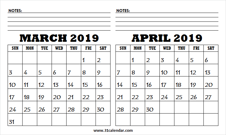 March April 2019 Print Calendar   Print Calendar, Calendar Regarding March April Calendar Printable