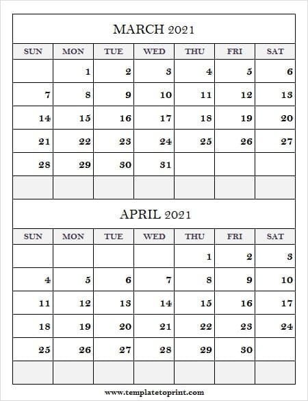 March April 2021 Calendar To Print - Monthly Planner Pertaining To 2021 Calendar March April May