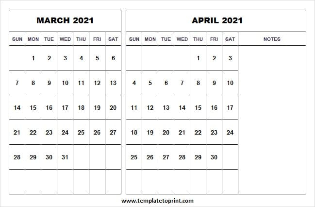 March April 2021 Calendar To Print – Monthly Planner Template 2021 Within March And April 2021 Calendar