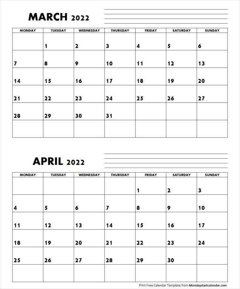 March April 2022 Calendar Monday Start | Editable Two For 2022 Calendar Feb March April