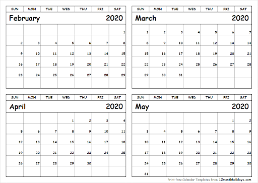 March April May 2020 Calendar Printable (3 Months) Regarding March April Calendar Printable