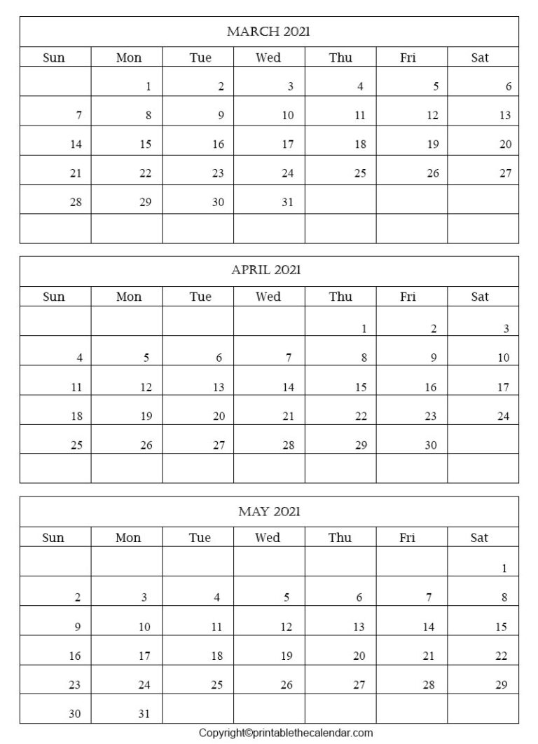 March April May Blank 2021 Calendar | Printable The Calendar inside 2021 Calendar March April May
