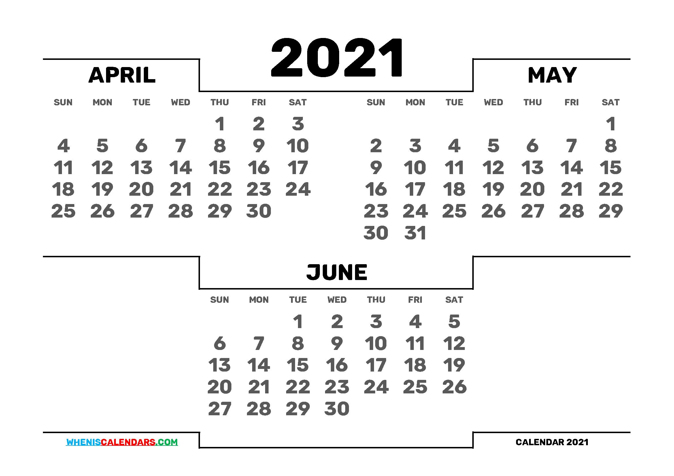 March April May June 2021 Calendar – Yearmon Regarding Printable Calendar March April May 2021