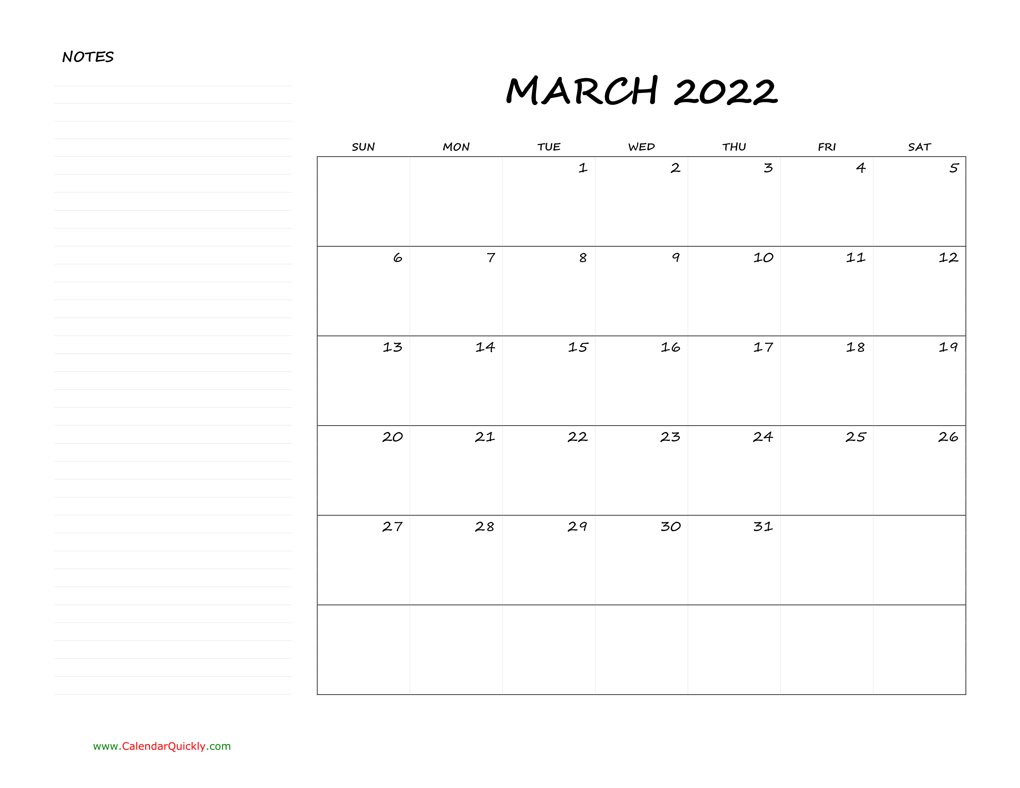 March Blank Calendar 2022 With Notes | Calendar Quickly Pertaining To Caladar For The Mont Of March 2022