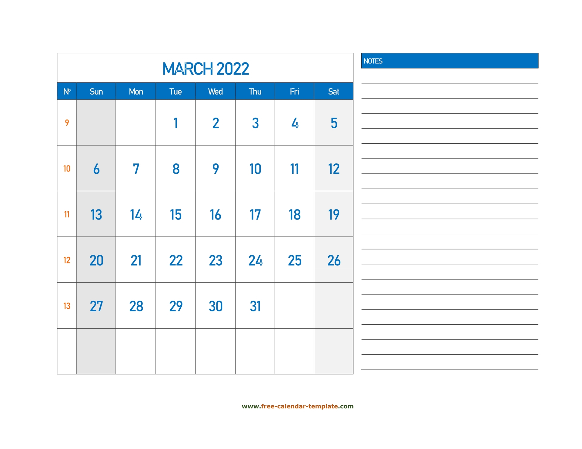 March Calendar 2022 Grid Lines For Holidays And Notes Intended For Caladar For The Mont Of March 2022