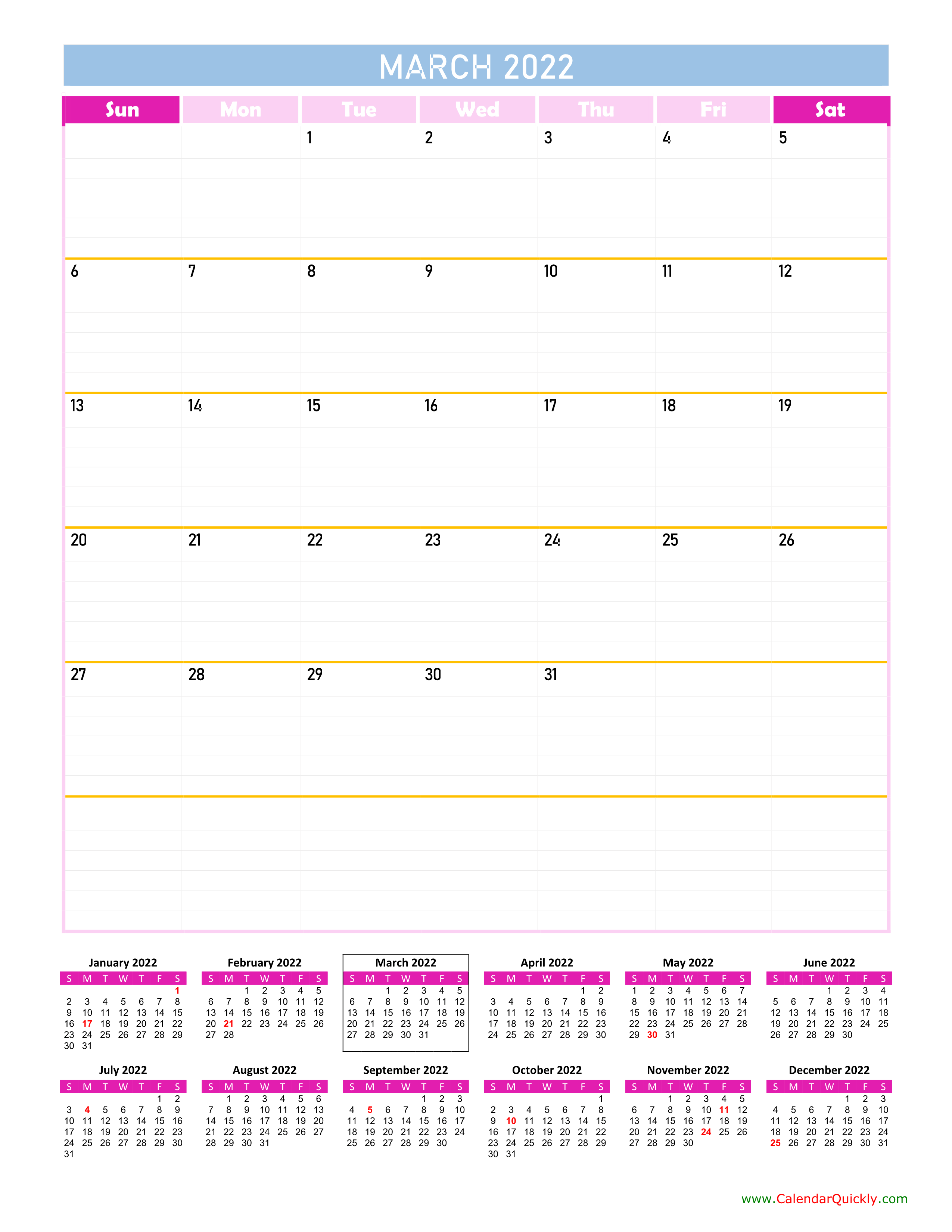 March Calendar 2022 Vertical   Calendar Quickly Intended For February March And April 2022 Calendar
