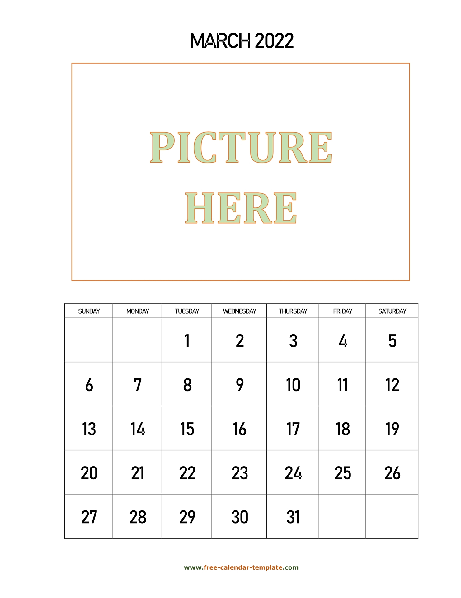March Printable 2022 Calendar, Space For Add Picture Throughout Caladar For The Mont Of March 2022