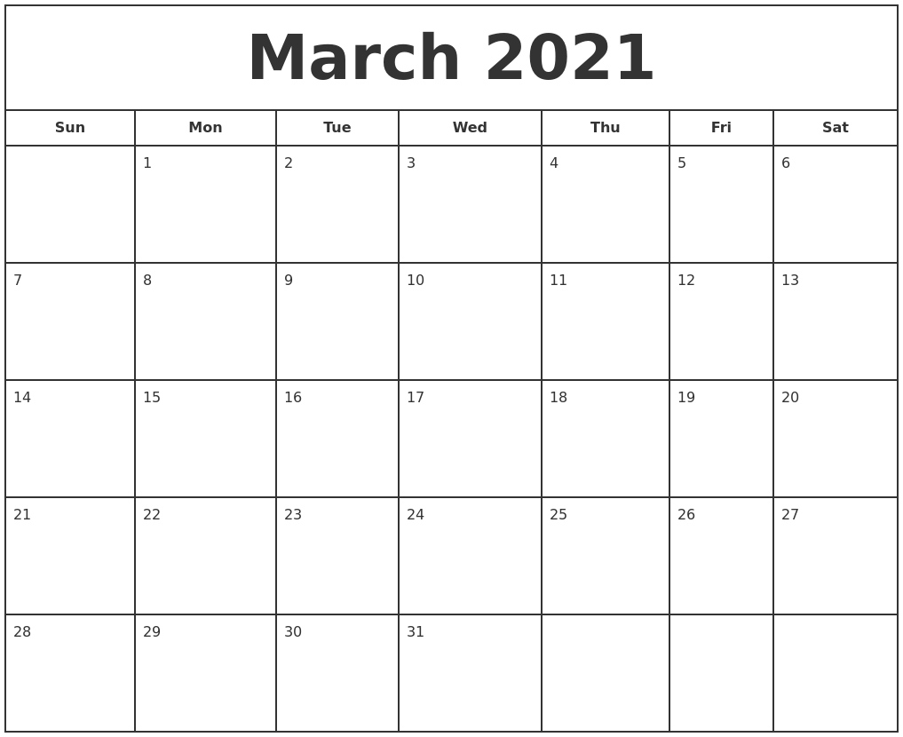 May 2021 Calendar Maker Pertaining To January February March April May 2021