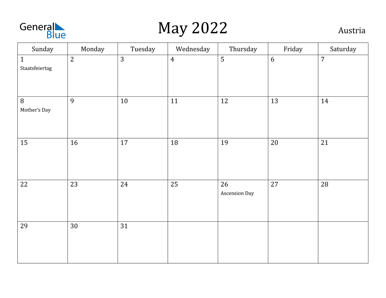May 2022 Calendar - Austria within Calendar March April May June 2022