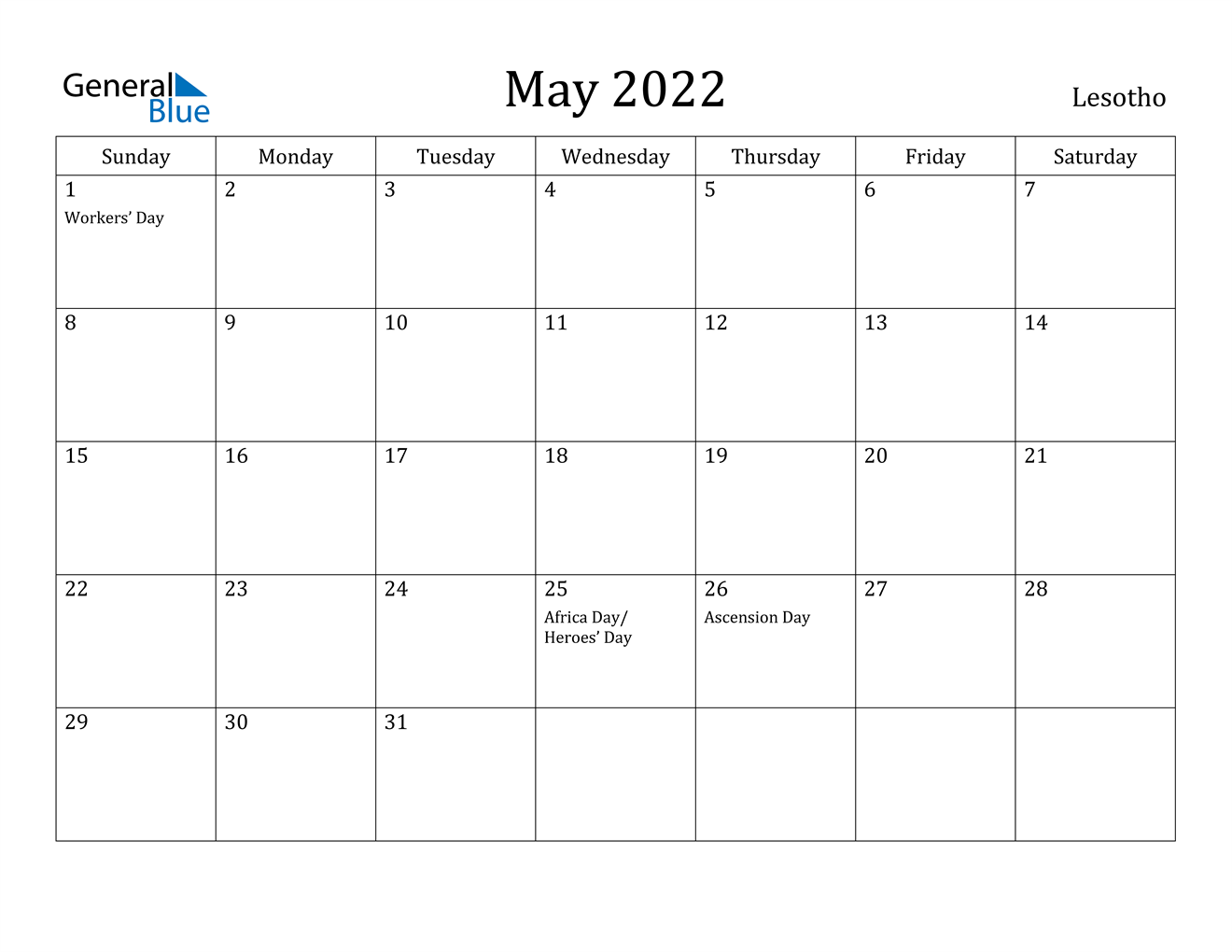 May 2022 Calendar – Lesotho Within January February March April May Calendar 2022