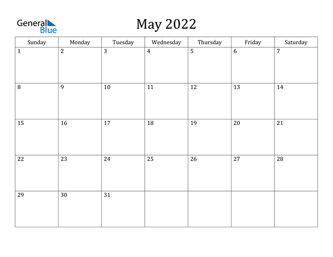 May 2022 Calendar (Pdf Word Excel) For Calendar March April May June 2022