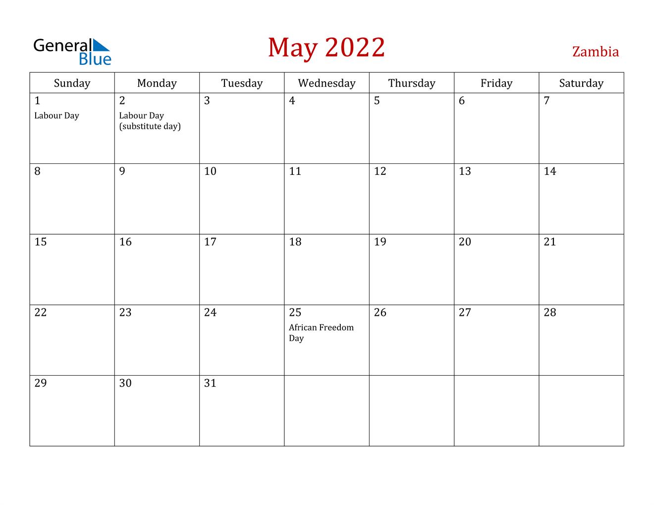 May 2022 Calendar – Zambia Within March April May 2022 Calendar Print