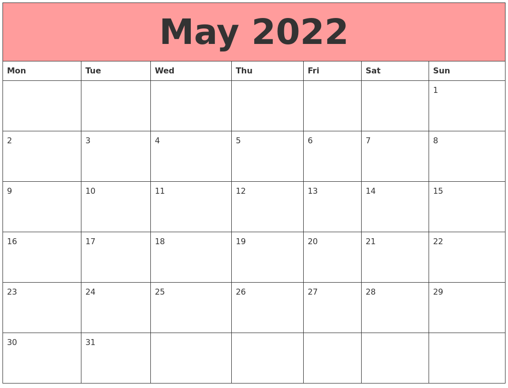 May 2022 Calendars That Work For January Calendar 2022 Full Page