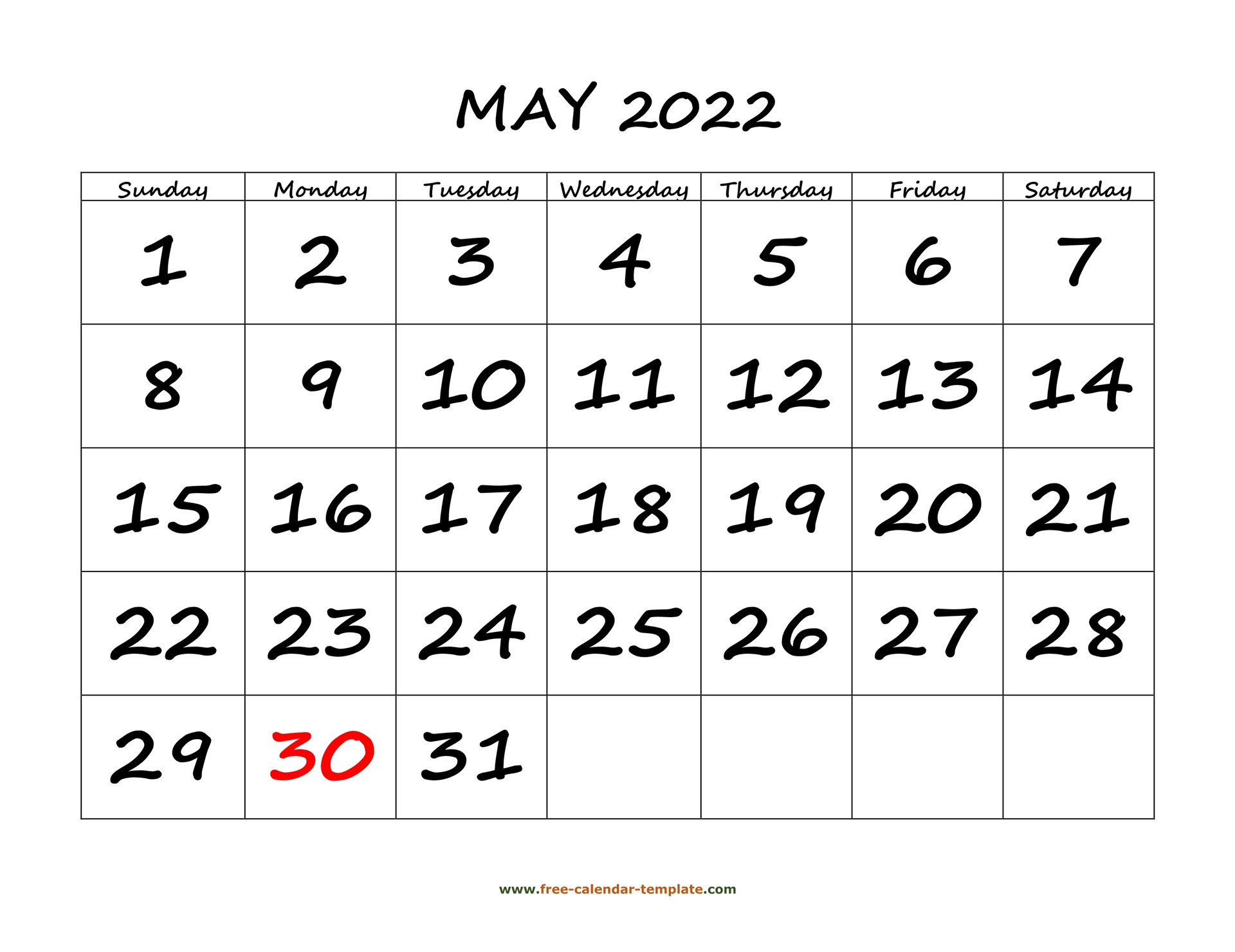 May 2022 Free Calendar Tempplate | Free Calendar Template Within January Calendar 2022 Full Page