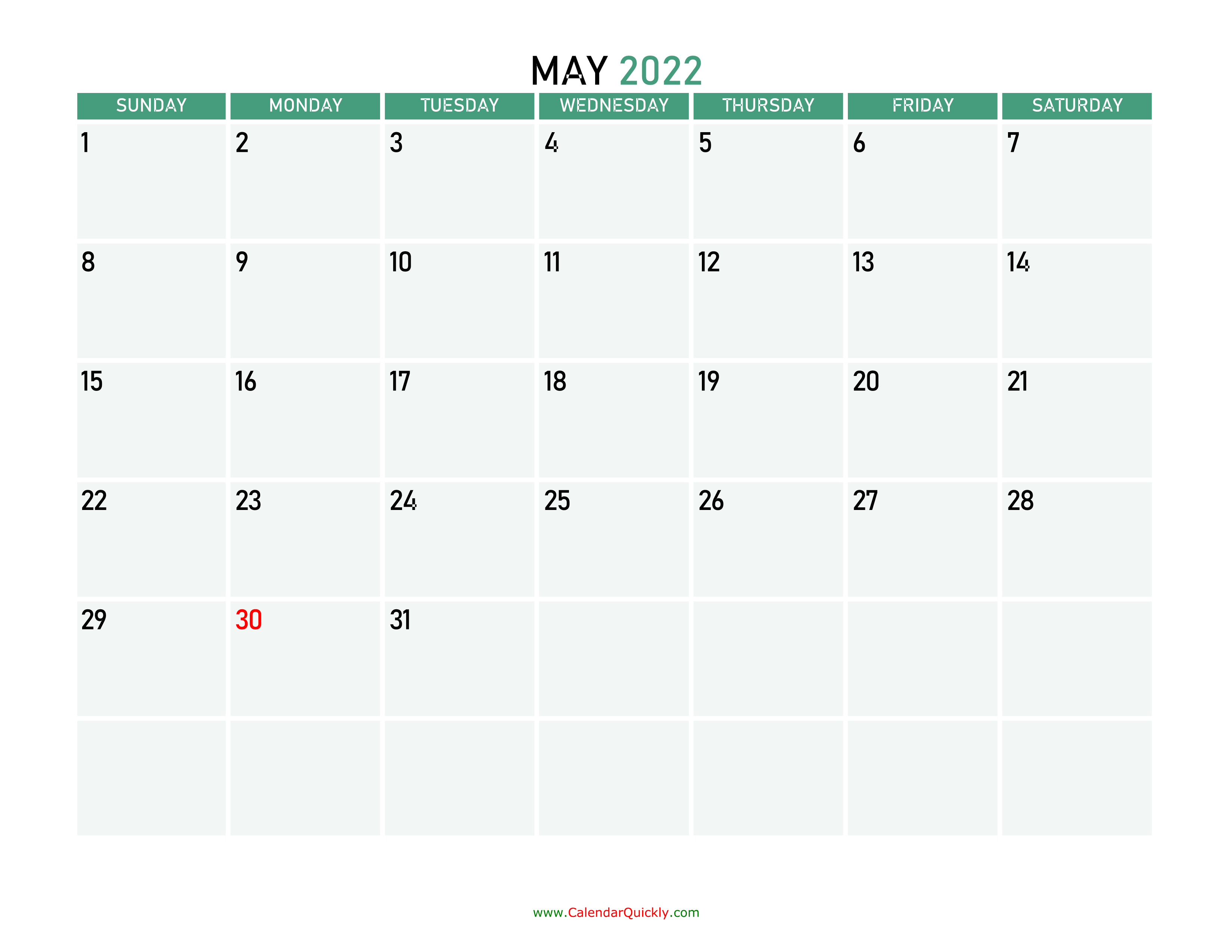 May 2022 Printable Calendar   Calendar Quickly For February March April May 2022 Calendar