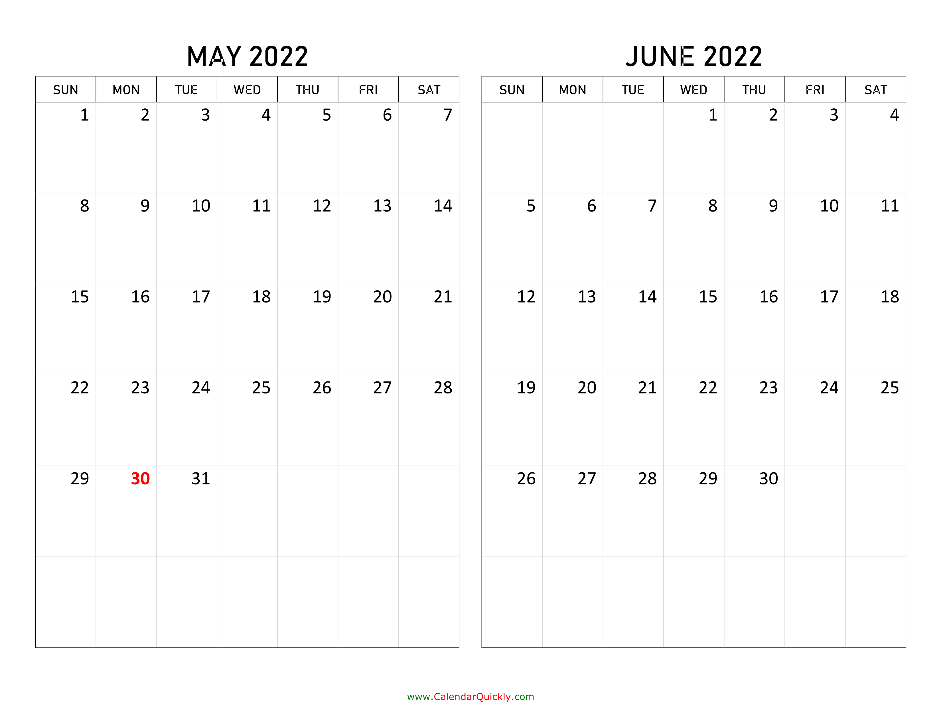 May And June 2022 Calendar | Calendar Quickly For January February March April May Calendar 2022