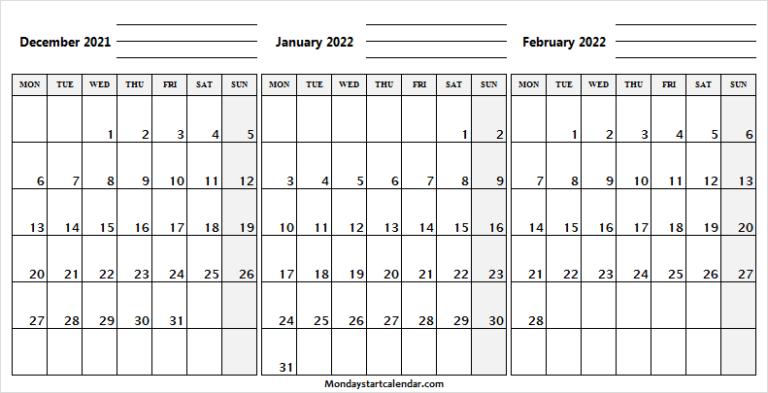 Monday Start December 2021 To February 2022 Calendar With February 2022 Calendar Monday Start