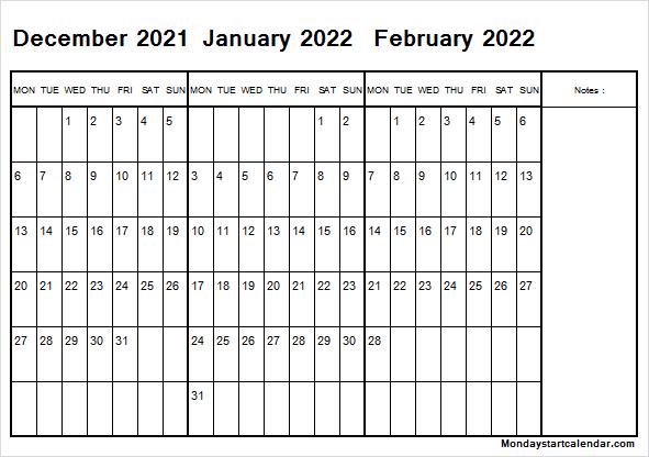 Monday Start December 2021 To February 2022 Calendar With Regard To February 2022 Calendar Monday Start