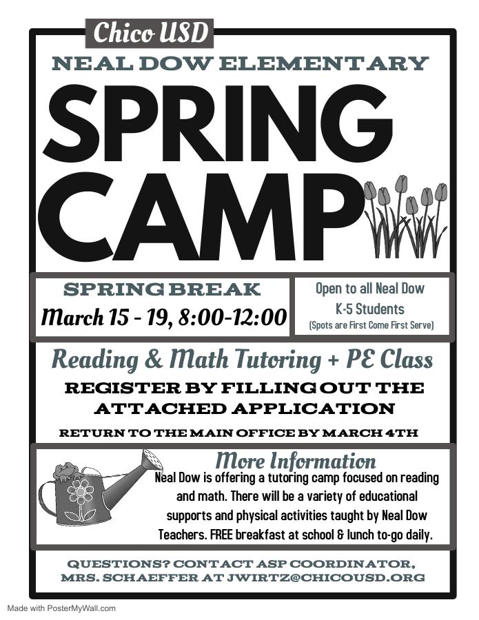 Neal Dow Elementary School – Spring Break Camp 2021 Pertaining To Downey Unified 2021 Spring Break