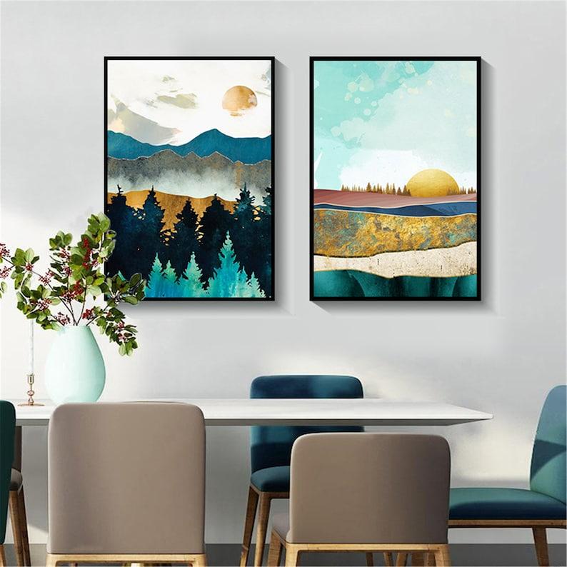Nordic Poster Sunrise Sunset Landscape Print Wall Art Inside Sunset Sunrise Printable