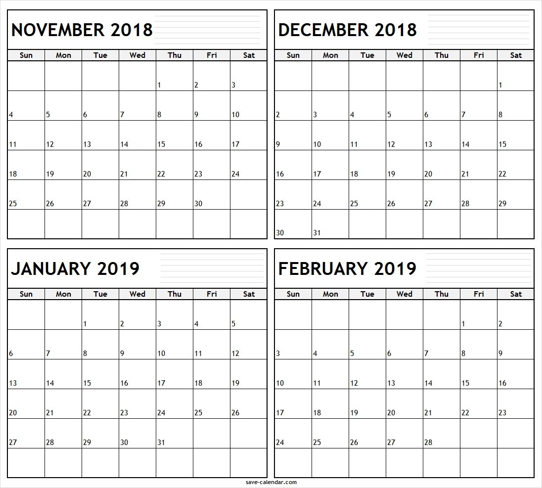 November December 2018 January February 2019 Calendar For December January February Calendar