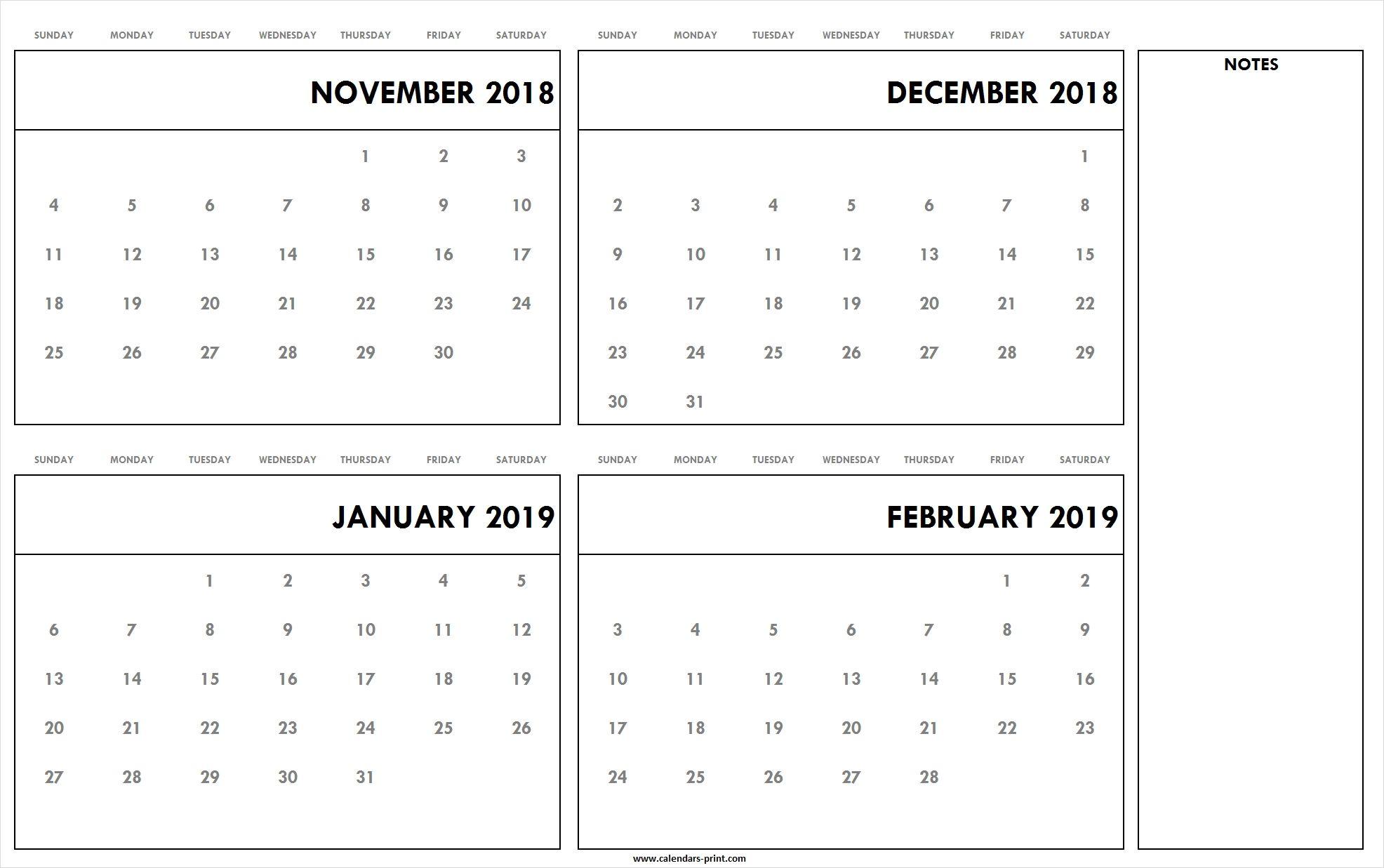 November To December 2018 January To February 2019 Throughout December January February Calendar